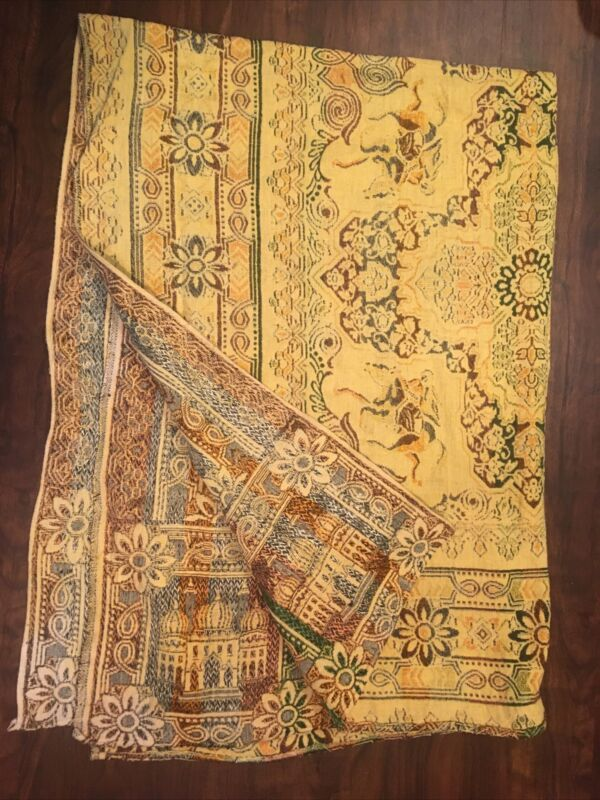 Vintage Loomed Textile Throw Blanket Middle East  Mosque Arabian Horse Rider