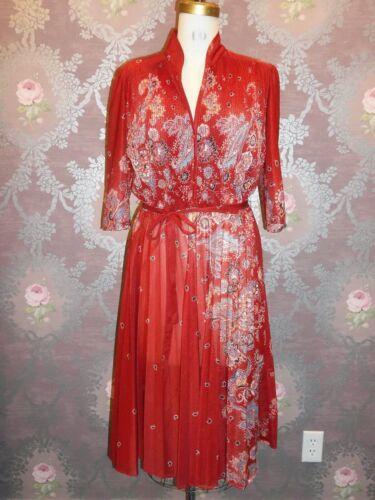 VINTAGE Secretary Dress 1980s Mandarin Accordion Pleat Skirt Asian Print Red M/L