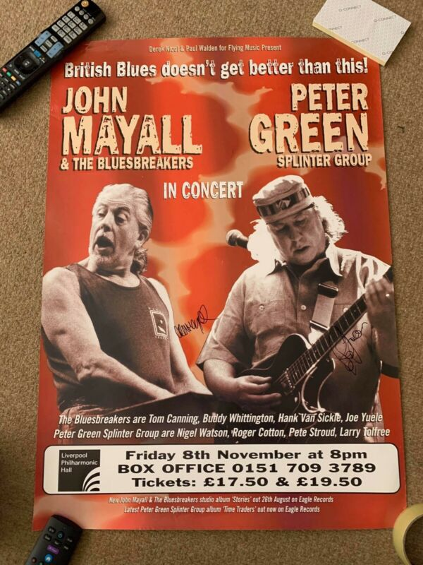 PETER GREEN -  JOHN MAYALL SIGNED TOUR POSTER - 18x 30  Inches -  UACC RD
