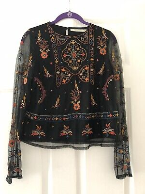 Zara Beaded Embroidered mesh crop Long Sleeve Top - Size S Small