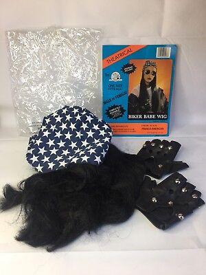 Biker Babe Black Wig Bandana Headband Studded Gloves Halloween Franco American - Biker Wig