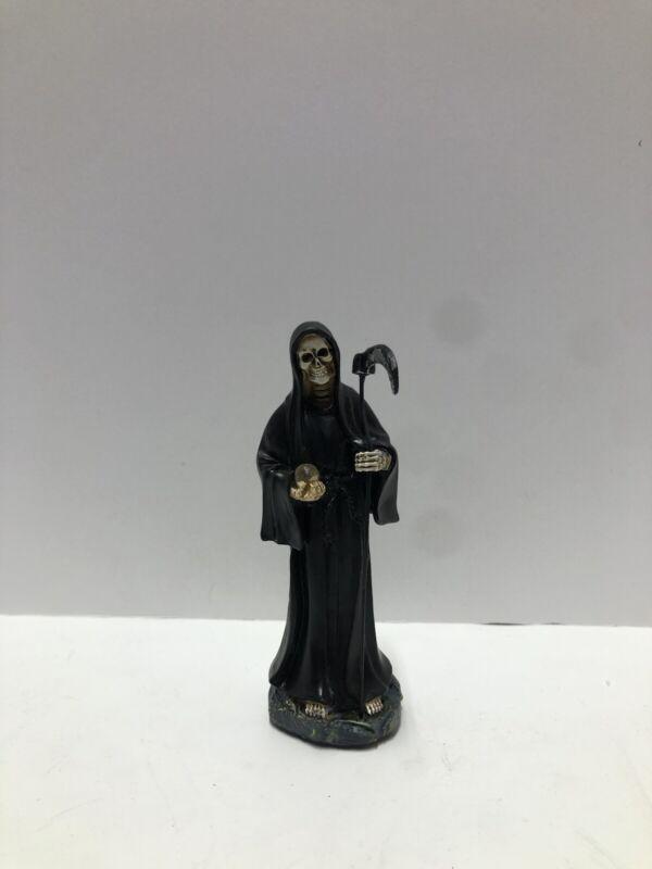 "Statue Holy Death Grim Reaper Skull Skeleton Negra Santa Muerte 5"" Negra 2008JBk"