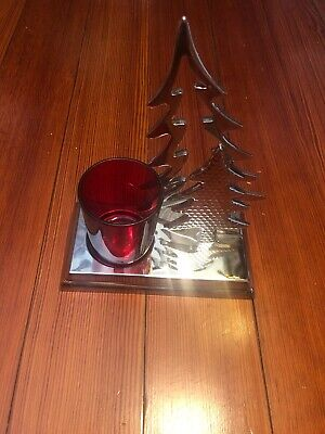 """Yankee Candle ~ SILVER DOUBLE TREE VOTIVE CANDLE LUMINARY ~ USED 5"""" X 6"""""""