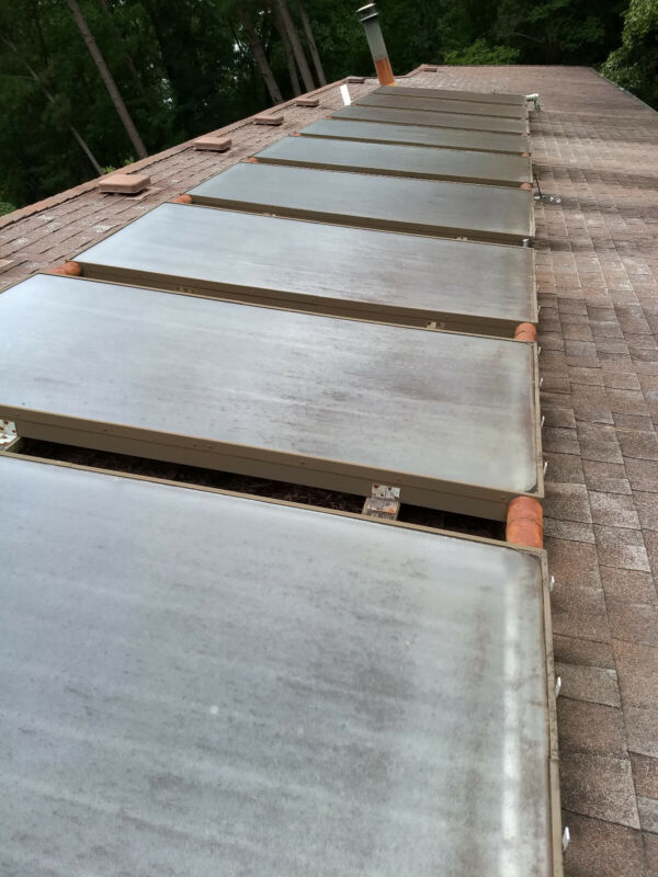 Hot water solar panels. These are used but still very serviceable.