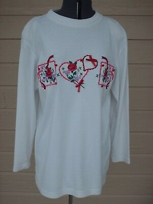 Vintage Karen Scott Long Sleeve White T-shirt with Hearts Roses Ribbons Size - White Roses Long Shirt
