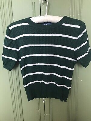 Collectif Vintage 1940s-Style Green Striped Jumper, Size 8, Great Condition