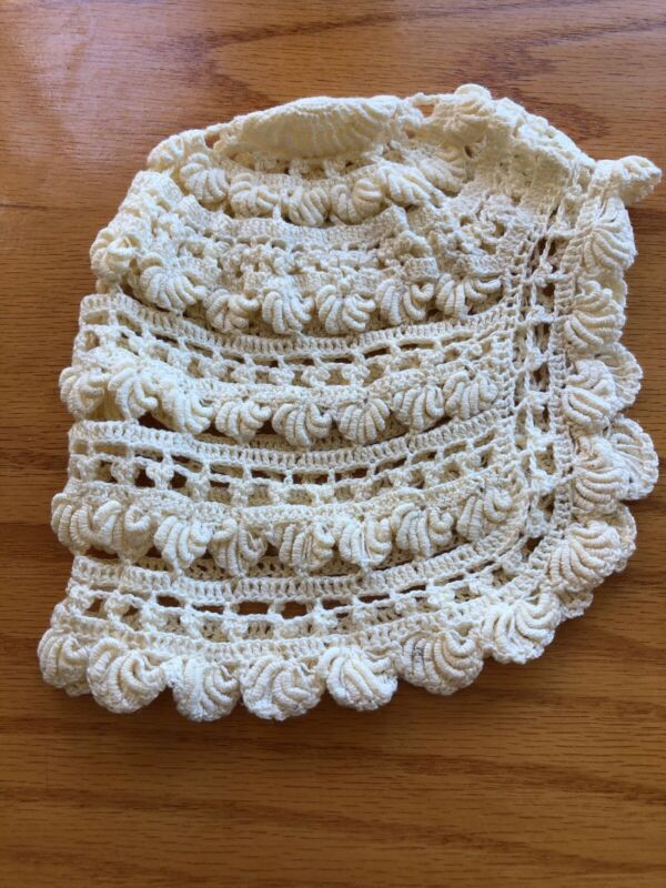 Vintage Hand Crocheted Knit Baby Bonnet Hat Great For Doll Too