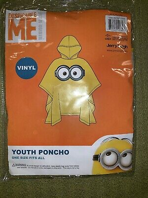 Yellow Rain Poncho (Despicable ME - Minion Eye Goggles Youth Hooded Yellow Rain)