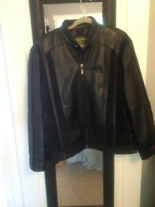 Men's new leather coat with shade trim