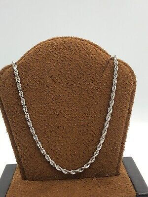 Solid 14KT White Gold Rope Style Necklace Chain - 19.75