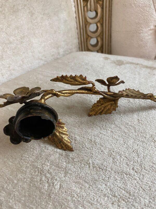 Vintage Italian Florentine Hollywood Regency Leaf Tole-ware Candle Snuffer Gilt