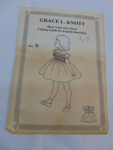 Grace Knott Basic Yoke Style Dress & Cutting Guide for English Smocking Sz 4 UC