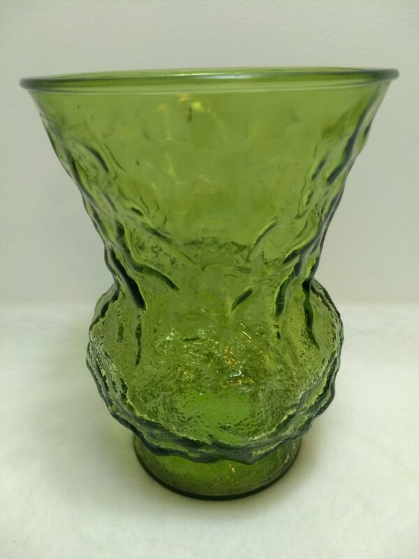 Green Glass Crinkle Textured Flower Vase E.O. Brody Cleveland OH USA 009 8in