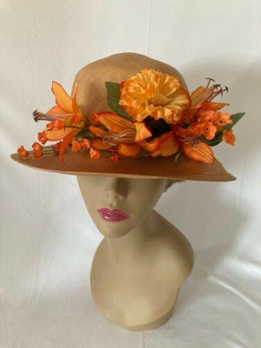 Vintage Mr. John Straw Hat Summer Church Orange Flowers Wide Brim Women