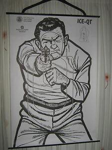 ORIGINAL VINTAGE US GOVERNMENT SHOOTING TARGET POLICE POSTER PRINT MAN CAVE ART