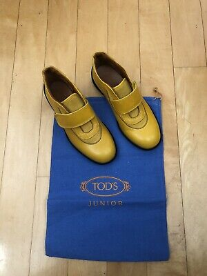 Tod's Junior ANILUX Shoes US Size 1/EUR 32 Mustard Yellow New in Box