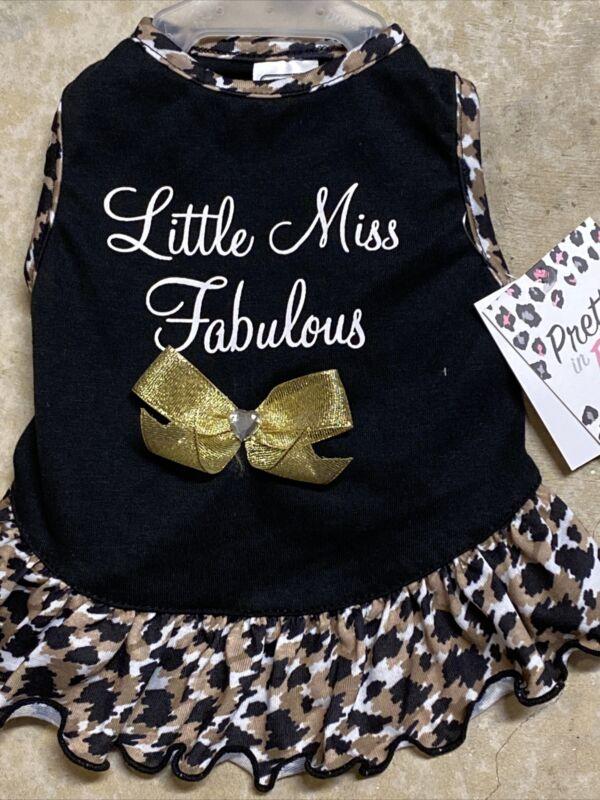 "SIMPLY WAG Black/Leopard Print ""LITTLE MISS FABULOUS"" Dress Puppy/Dog xsmall"