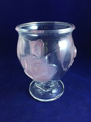 "Teleflora Clear Glass Vase with Pink Frosted Embossed Roses 6 1/4""tall and heavy"