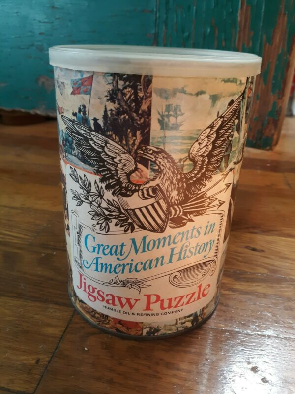 1969 Humble Oil Co. Great Moments American History #5 Sealed Tin Jigsaw Puzzle