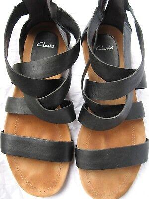 Damen Schuhe Sandalen CLARKS Gr.42/8 schwarz Knöchelhoch Reißverschluss Leder