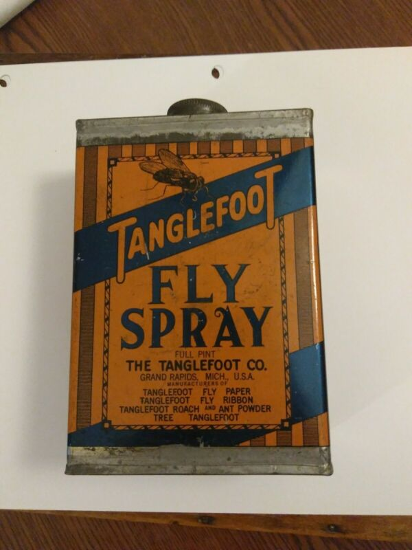 Vintage TANGLEFOOT FLY SPRAY PINT grand rapids Michigan