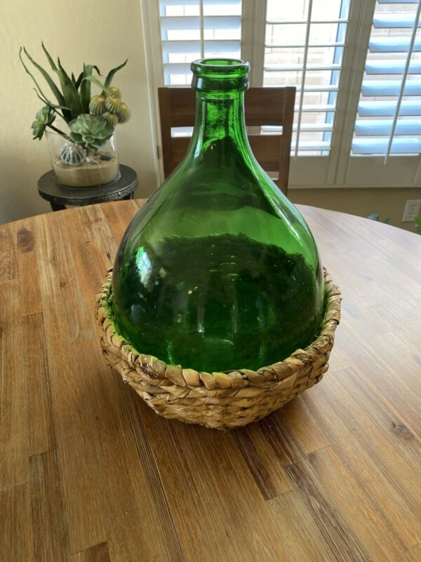 Vintage Large Demijohn Green Wicker holder