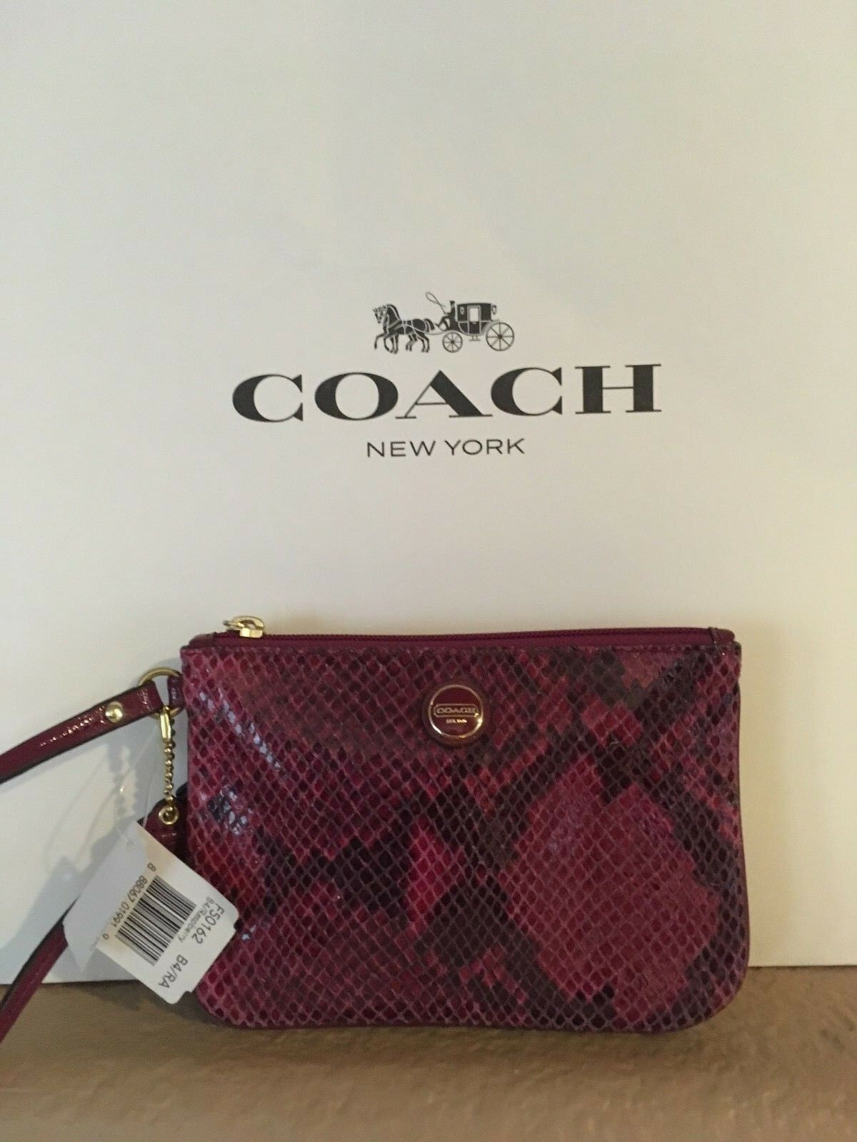 NEW Coach Woman Raspberry  Snakeskin Wallet/Wristlet Small G