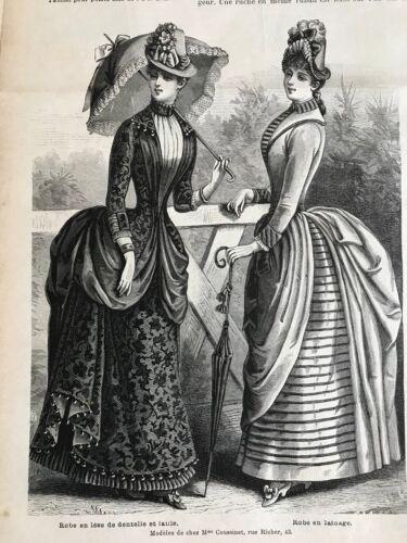 MODE ILLUSTREE SEWING PATTERN July 19,1885 - Coat, Aprons, dress, crinoline