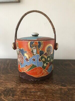 Vintage Porcelain Japanese Samurai Satsuma Style Biscuit Barrel Pot- Height 15cm