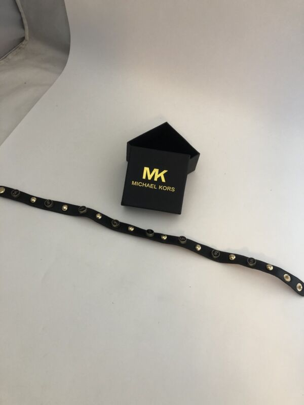 "Michael Kors Studded MK Leather Choker Necklace Snap Collar 15.5"""