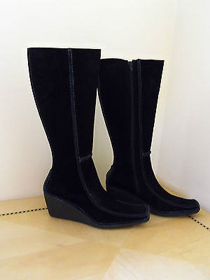 PONS QUINTANA 1953 BLACK SUEDE BOOTS WEDGE HEEL SIZE 11 US 41 EURO SPAIN MADE! on Rummage