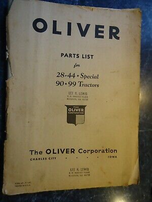 Oliver Parts List For 2844 Special 90 98 Tractors