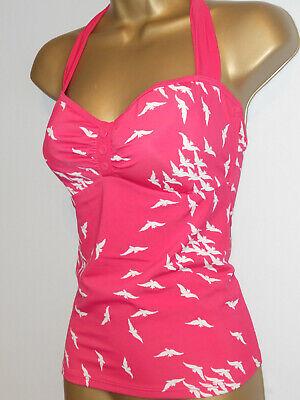 PINK / WHITE FAT FACE BIRD PRINT HALTER NECK TANKINI BIKINI TOP SIZE 12 (Fat Face Bikini)
