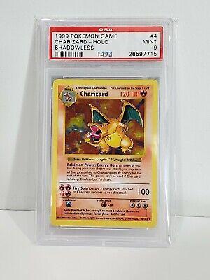 1999 Pokemon Game Base Set Shadowless Holo Charizard Card #4 PSA 9 MINT!!