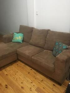 Light coffee coloured lounge with chaise Marrickville Marrickville Area Preview