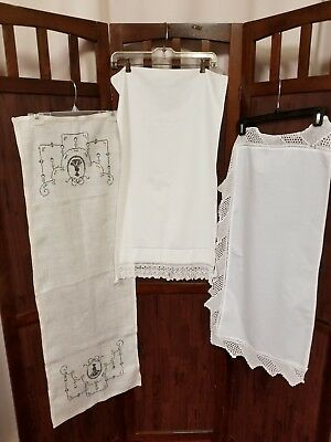 Lot of 3 antique vintage white household linens