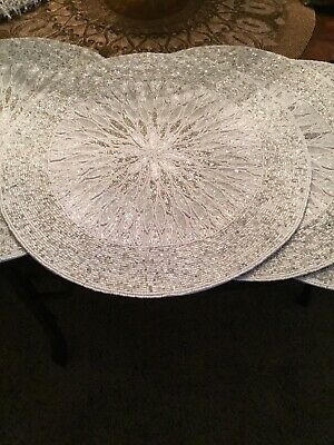 """NWT Secret Celeb 15"""" Beaded Placemats Set of 4 With 4 Seybert Rings And 4Napkins"""