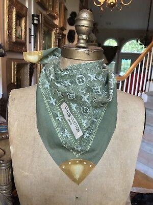 """New RARE LOUIS VUITTON Army Green Denim 100% Cotton Scarf Bandanna, 21"""" Sq."""