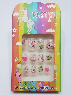 Adorable Fun Unicorn & Stars Stick On Nails - Great Stocking Stuffer for Kids!! - Stocking Stuffers For Kids