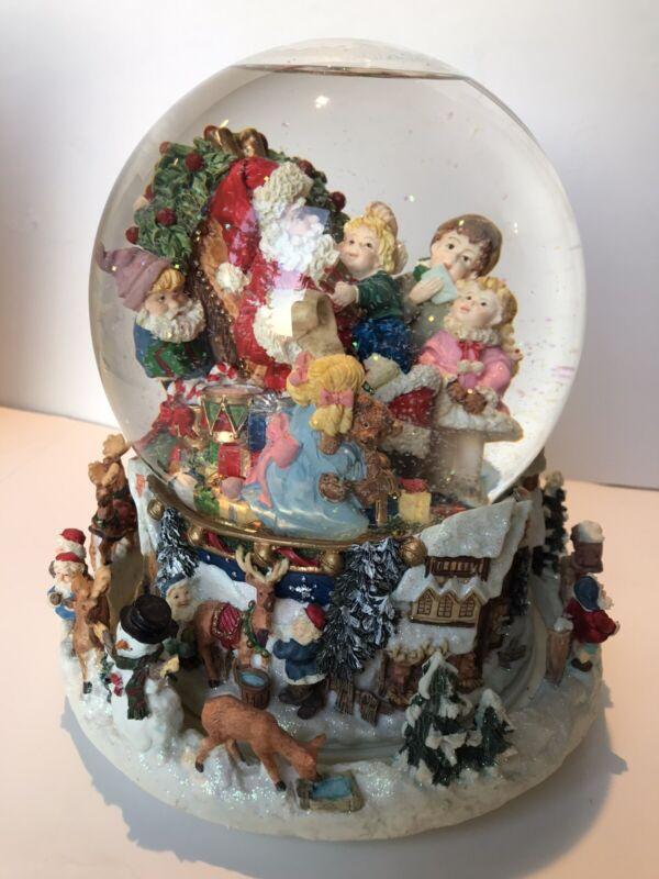 Kirkland Musical Snow Globe Revolving Base Santa Children Jolly St Nicholas
