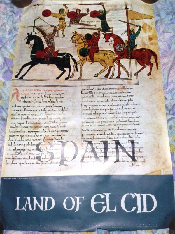 Vintage rare original Spain Espana travel poster Land of El Cid Catalunia