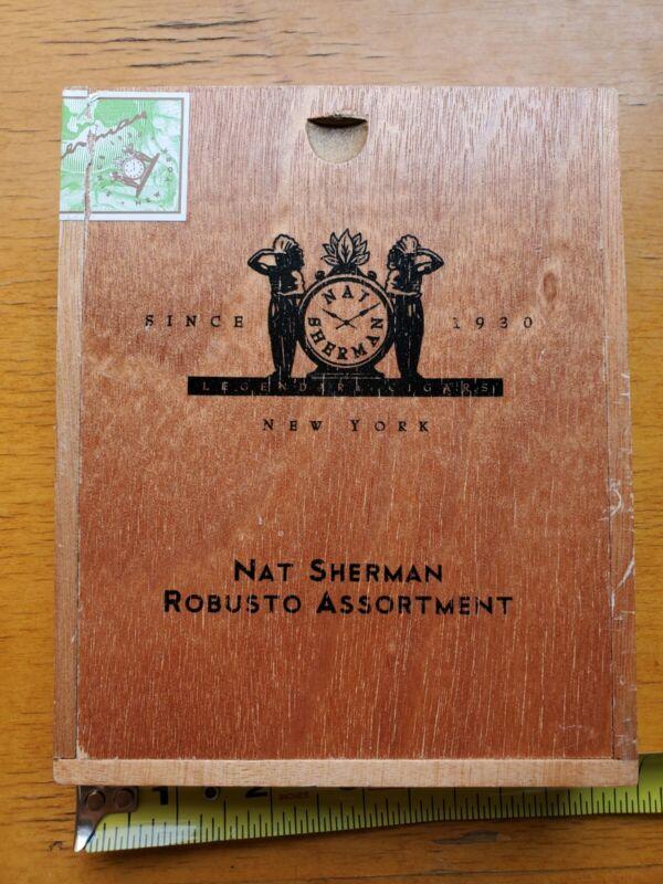 Nat Sherman Cigar Box Empty Slide Top Wood