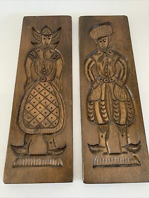 """Set of 2 Vintage Wooden Speculaas Cookie Biscuit Woman & Man Molds 21"""" x 7"""""""