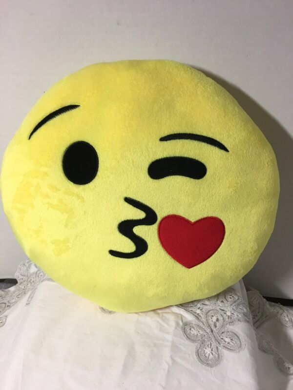 Emoji Kissing Heart Pillow Plush Round Cushion Yellow