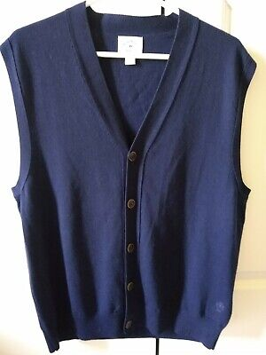 Brooks Brothers RED FLEECE Sweater Vest  Extra Large Navy Blue 100% Merino Wool