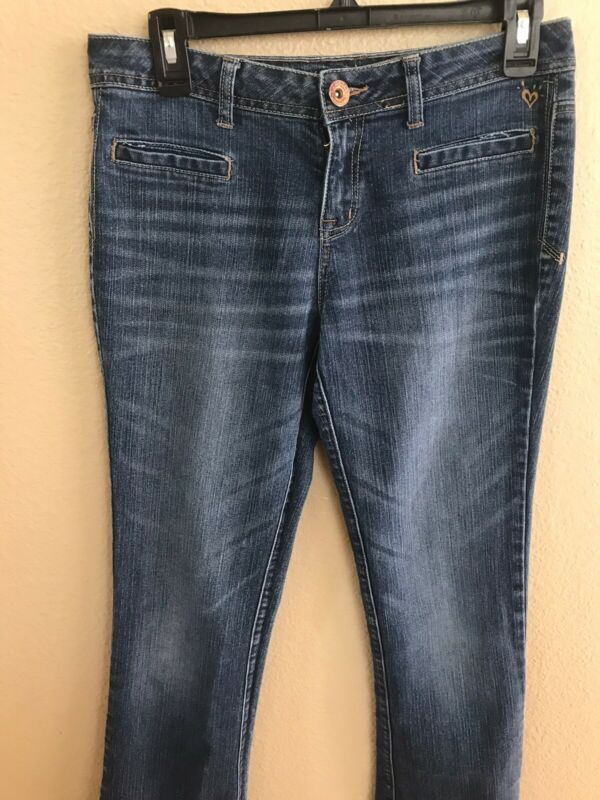 I love Justice Juniors Girls Size 16R Blue Denim Stretch Mid rise Bootcut Jeans