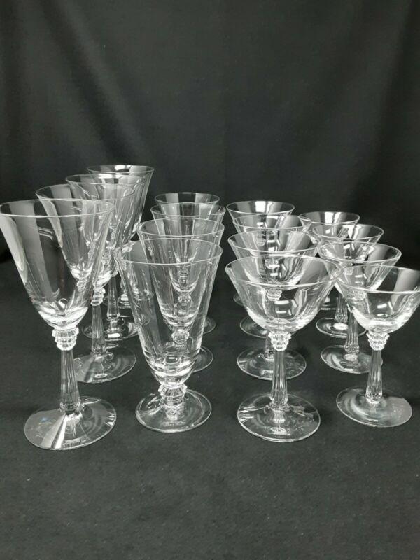 Vintage Fostoria Sceptre Crystal Stemware Set Art Deco Period