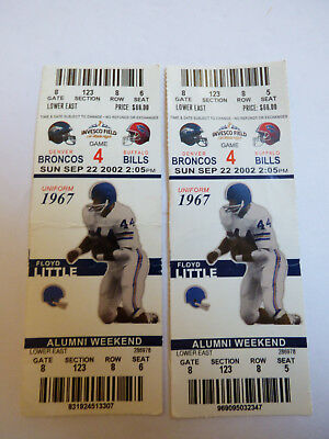 Lot of 2 Game 4 2002 Denver Broncos vs Buffalo Bills Game Ticket Floyd Little
