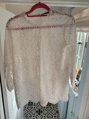New Without Tags Zara White Stretchy Lace Top With Long Sleeves Sz L / 14