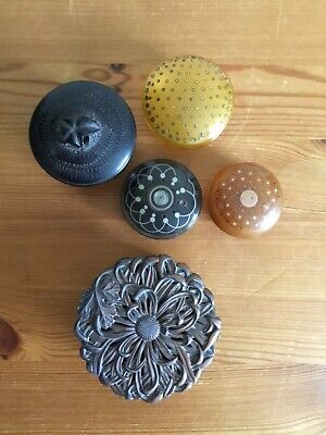 antique pill boxes metal wood inlay